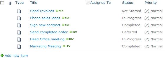 SharePoint 2010 Task List