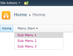 SharePoint 2010 menu on ipad