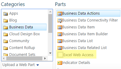 adding excel web access web part to sharepoint page
