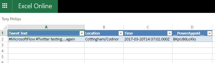 Excel populated with tweets from MS Flow