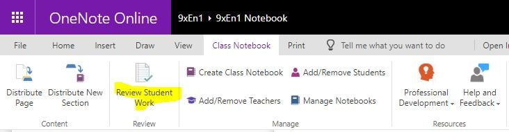 OneNote Class Notebook Review Student Work Button