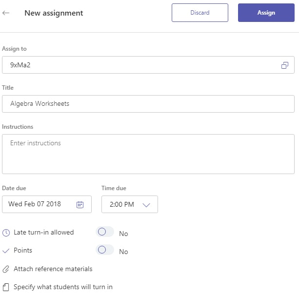 Fill in assignment details Microsoft Teams