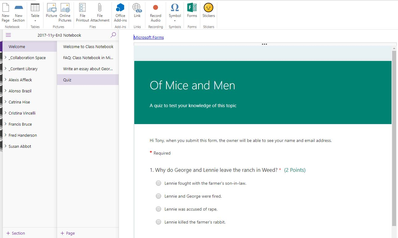 Creating a quiz using Microsoft Forms in OneNote – Tony Phillips
