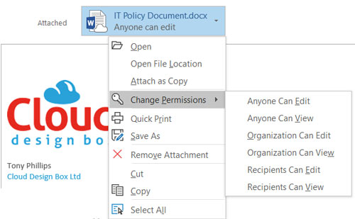 Outlook sharing link options