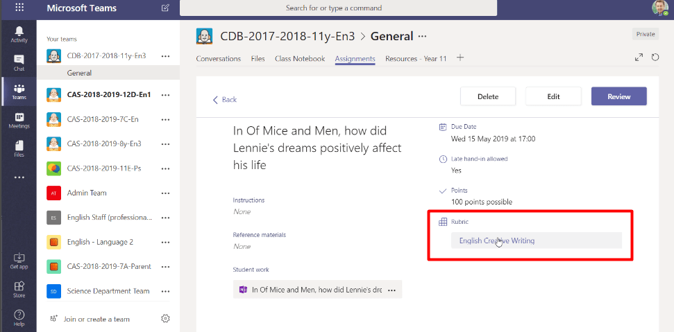 Rubric on Microsoft Teams Assignment
