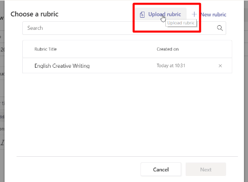 Importing a Rubric in Microsoft Teams