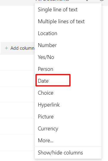 Add a date column to document library