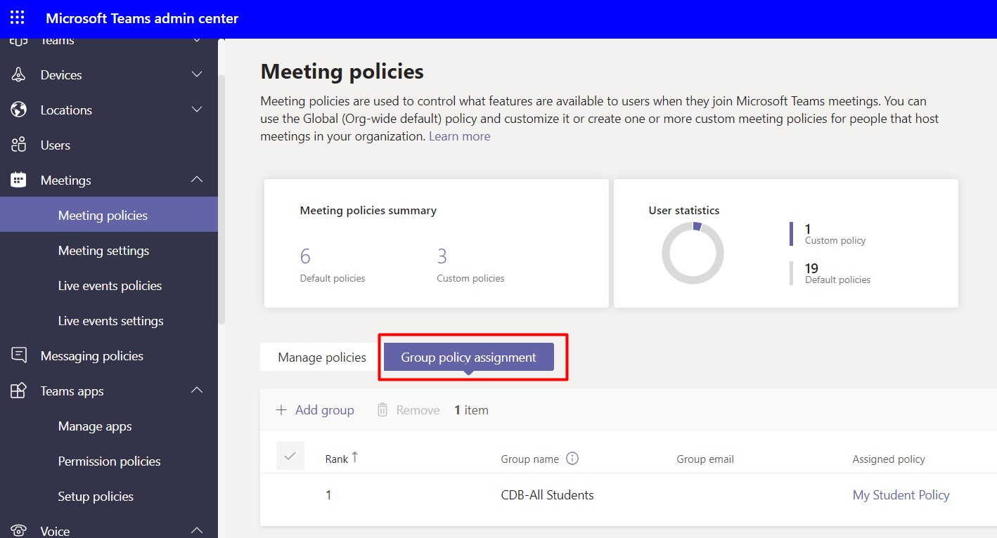 Group policy assignment tab