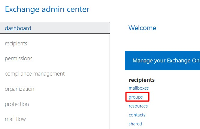 Groups in the exchange admin center