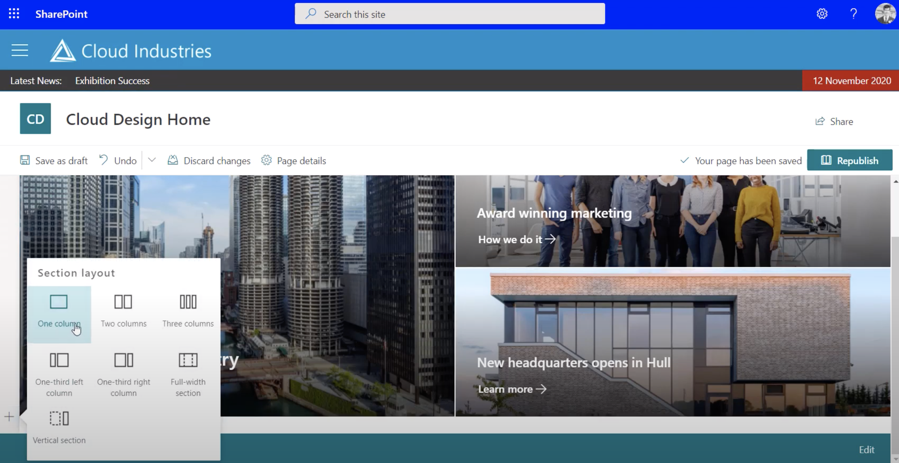 SharePoint sections