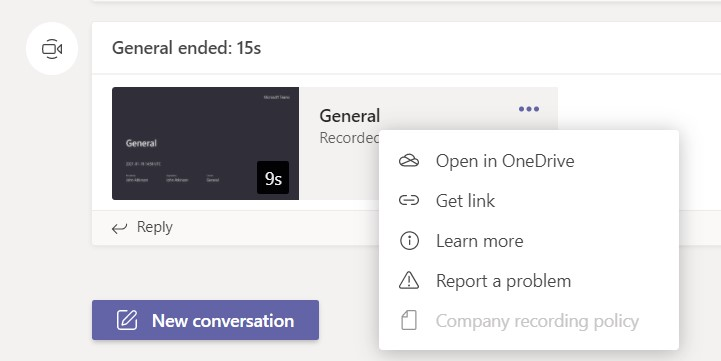 Meeting recording stored in OneDrive or SharePoint in Teams