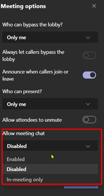 Disable chat function in Class Teams during your lesson.