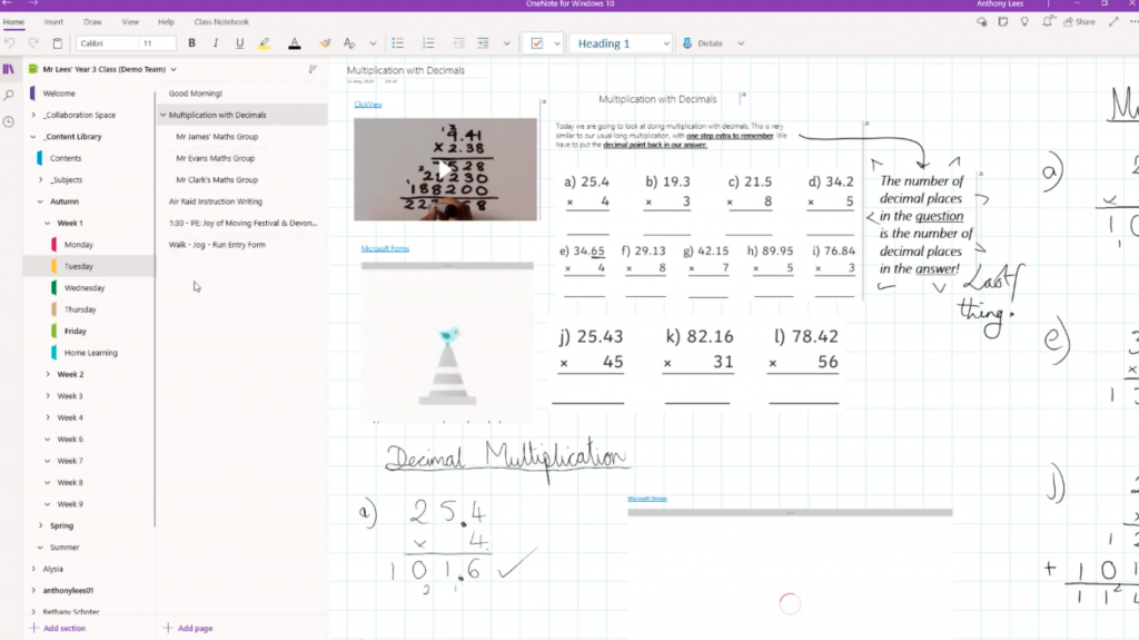 Saving time planning lessons with OneNote