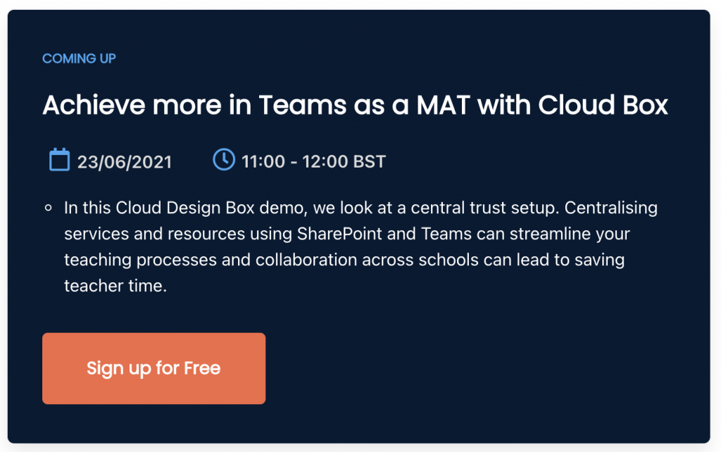 Sign up to Achieve more in Teams as an MAT with Cloud Box