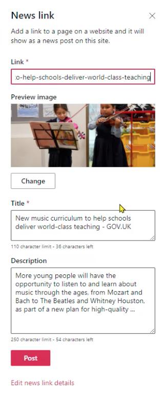 Adding a news link to SharePoint