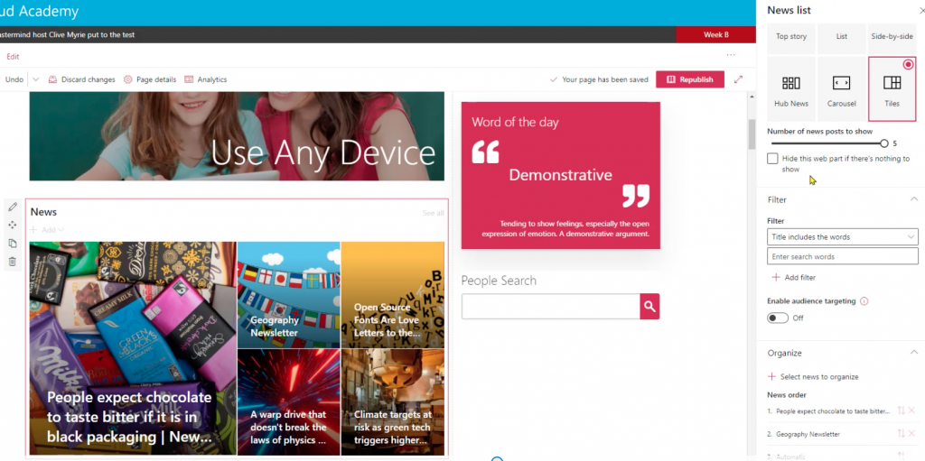 Customising your news section on SharePoint