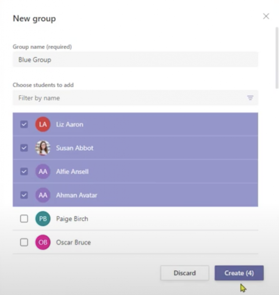 Group Assignments in Teams 4 - Manually assign students to a group assignment