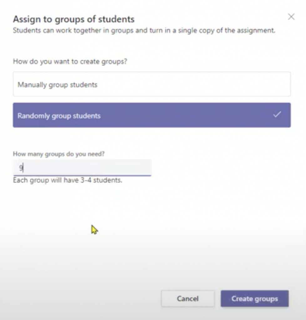 Group Assignments in Teams 5 - Randomly assign students to a group assignment