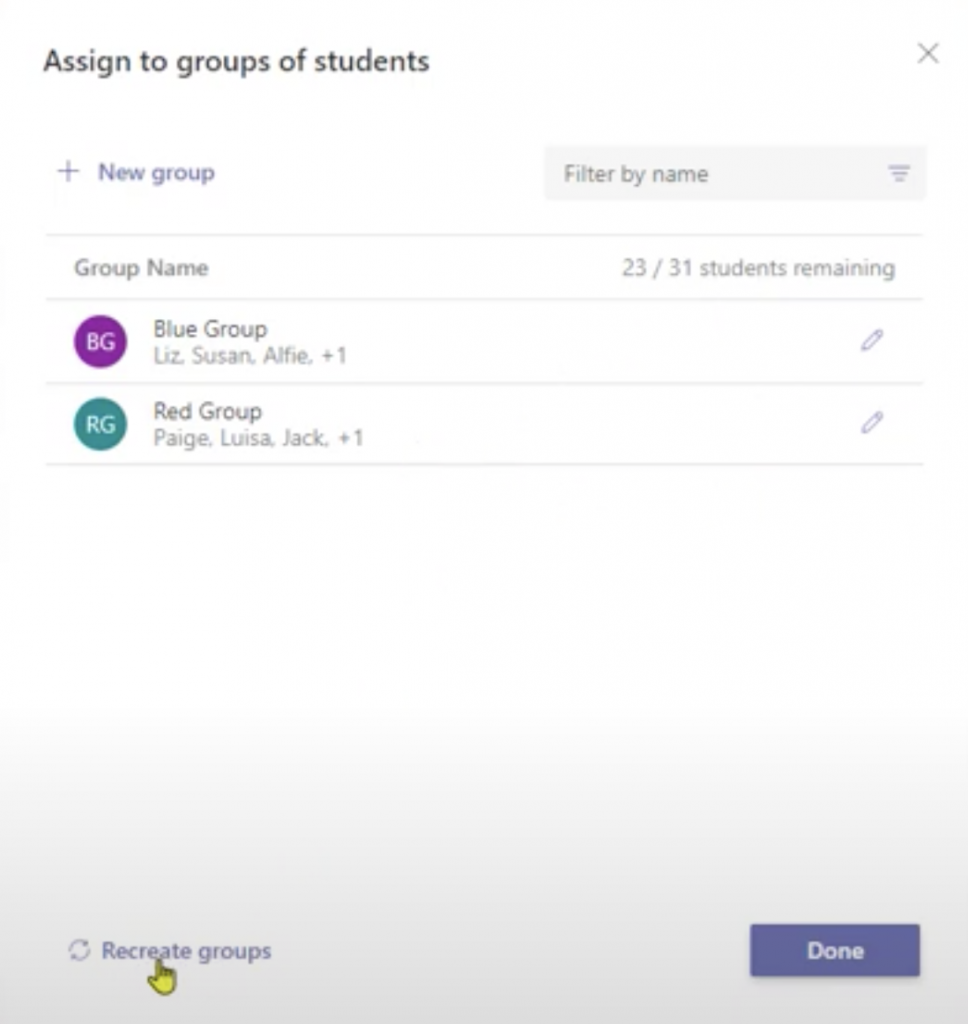 Group Assignments in Teams 6 - Recreate groups