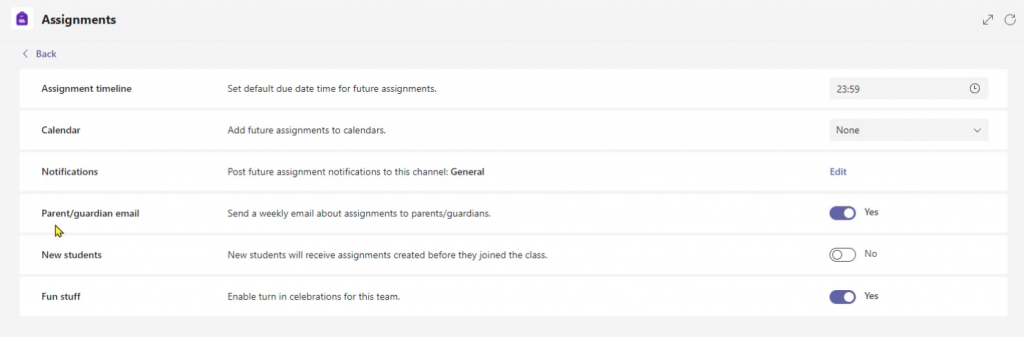 Assignment Settings in Microsoft Teams